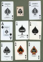 9 different single playing cards, all Aces of Spades  #241